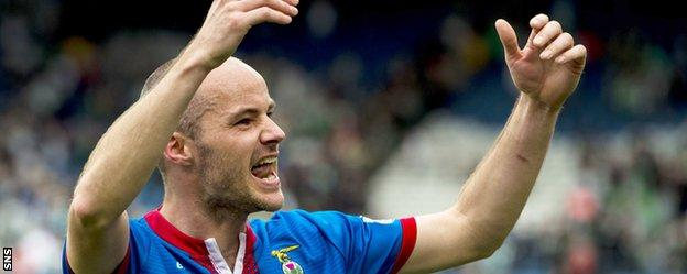 David Raven celebrates after Caley Thistle defeated Celtic