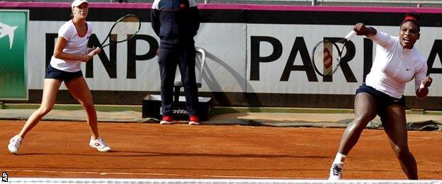 Serena Williams, right, and Alison Riske
