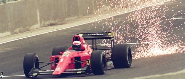 Sparks fly on Alain Prost 1990