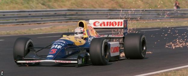 Nigel Mansell at the 1992 Hungary GP