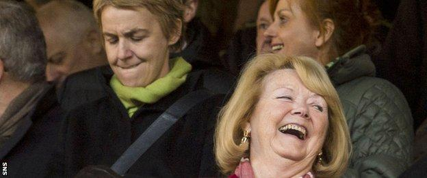 Hibs chief executive Leeann Dempster (left) and Hearts owner Ann Budge