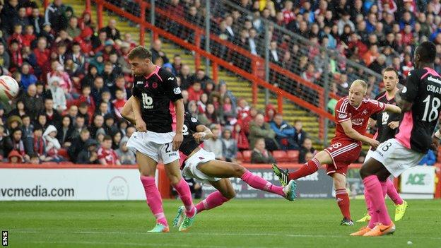 Nicky Low has scored once this season for Aberdeen, against Partick Thistle in a 2-0 win