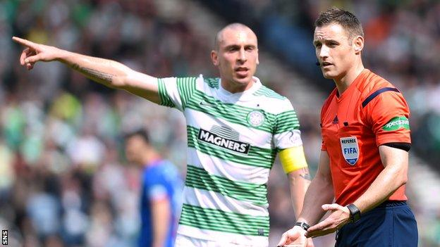 Celtic captain Scott Brown (left) appeals to referee Steven McLean during the defeat to Inverness
