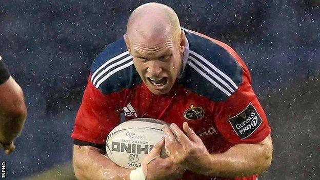 Paul O'Connell in action for Munster against Edinburgh earlier this month