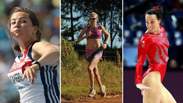 (From left to right) Goldie Sayers, Paula Radcliffe, Beth Tweddle