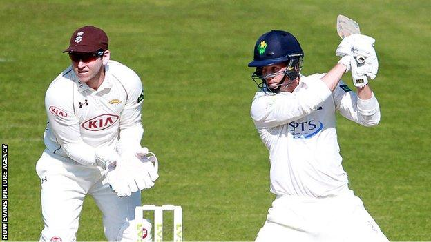 Craig Meschede square cuts for Glamorgan against Surrey