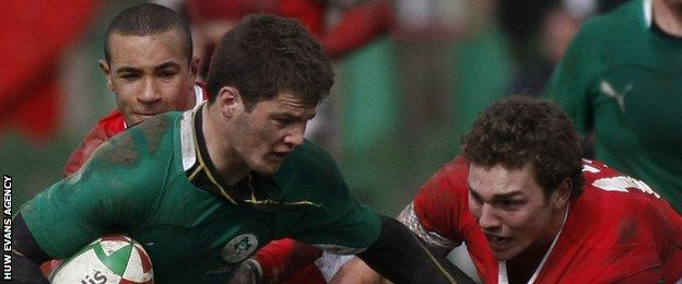 Eli Walker (l) and George North (r) in action against Ireland-U18 in April 2010