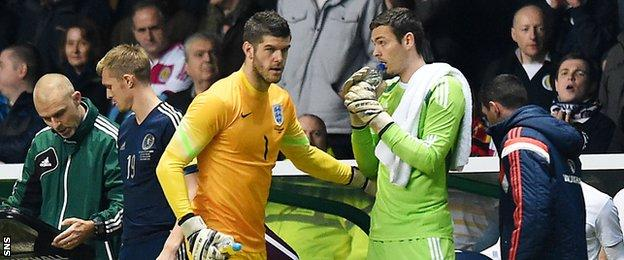 Craig Gordon (right) replaced Fraser Forster at Celtic during the summer