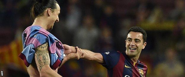 Zlatan Ibrahimovic and Xavi