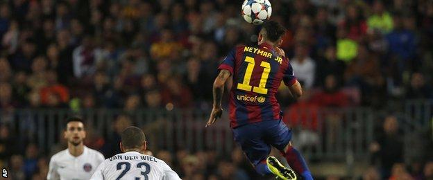 Neymar was completely unmarked as he headed in Barcelona's second