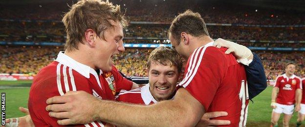 Welsh Lions celebrate beating Australia