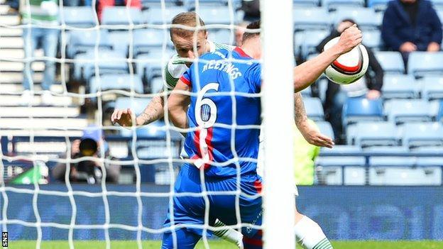 Josh Meekings blocks Leigh Griffiths' header at Hampden