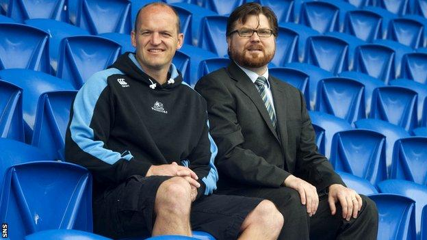 Gregor Townsend and Nathan Bombrys of Glasgow Warriors at Scotstoun Stadium