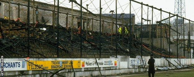Burnt out stand at Valley Parade