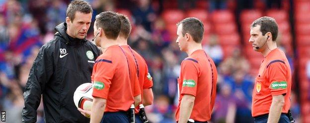 Celtic manager Ronny Deila confronts the officials at Hampden