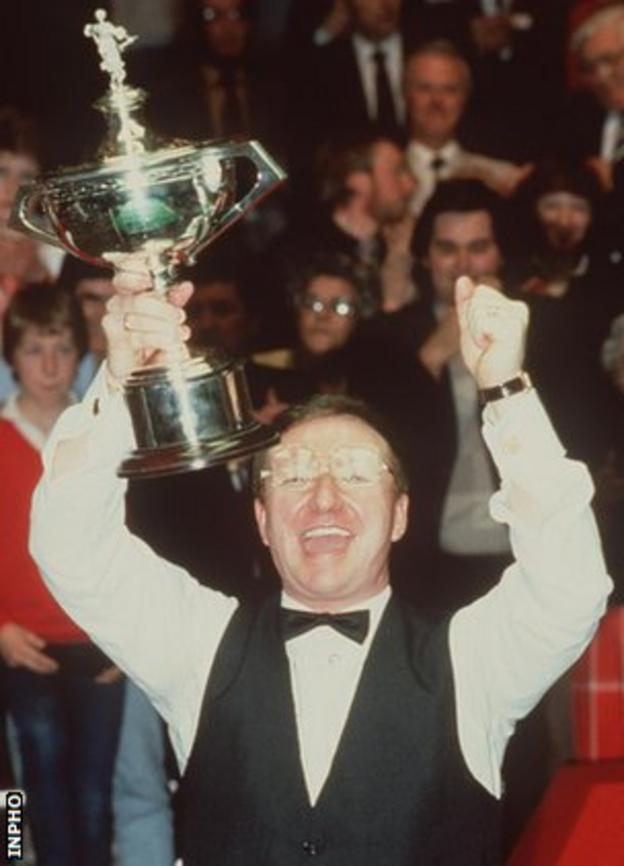 Dennis Taylor celebrates after his World Championship win over Steve Davis in 1985