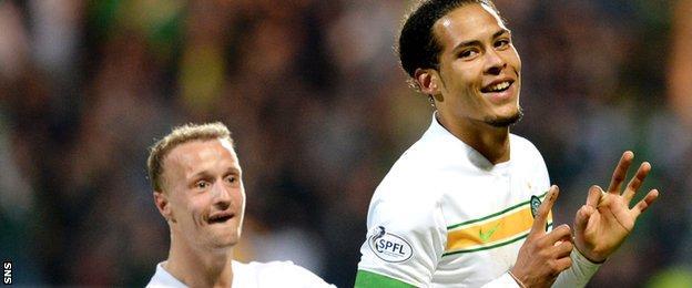Virgil van Dijk doubled Celtic's lead with a free-kick