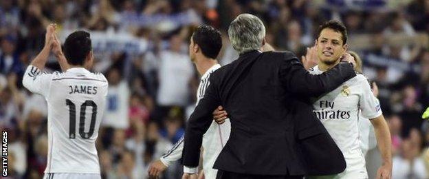 Carlo Ancelotti and Javier Hernandez