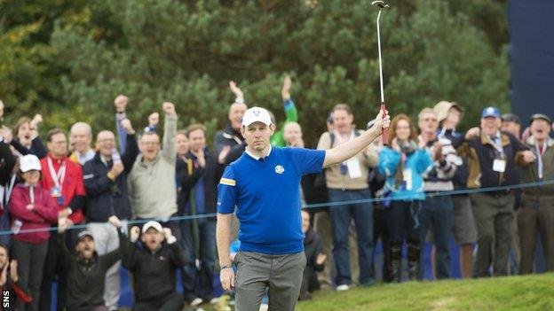 Scotland's Stephen Gallacher competed for Europe at the 2014 Ryder Cup at Gleneagles