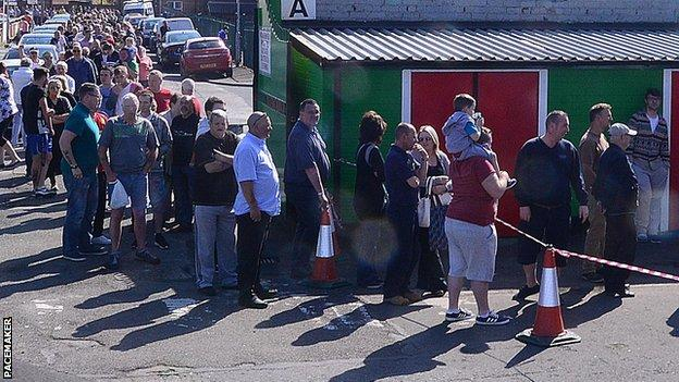 Thousands of fans queued for Irish Cup final tickets at Glentoran's Oval ground