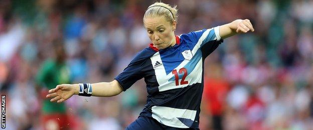 Kim Little in action for Team GB during the 2012 Olympic Games