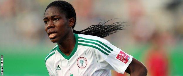 Asisat Oshoala in action for Nigeria