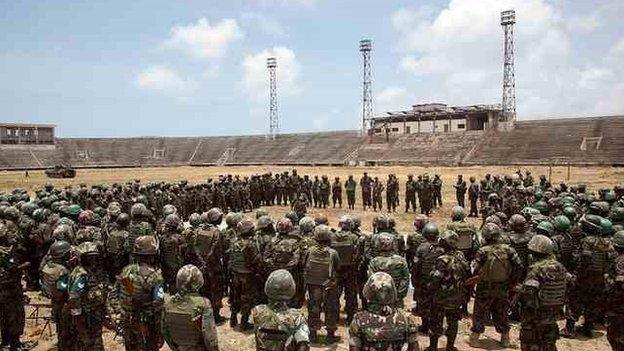 African Peacekeeping troops in the Somalia National Stadium in Mogadishu