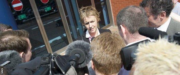 Hibernian chief executive Leeann Dempster talks to the media