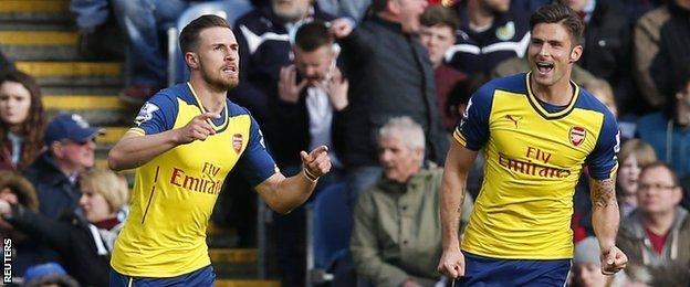 Aaron Ramsey celebrates after scoring Arsenal's winner against Burnley