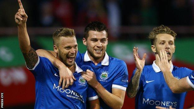 Peter Thompson celebrates after scoring one of his 230 goals for Linfield