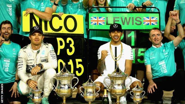 Nico Rosberg and Lewis Hamilton celebrate their win at the Bahrain grand prix