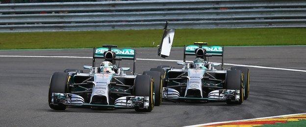 Lewis Hamilton and Nico Rosberg collide during the 2014 grand prix in Spa, Belgium
