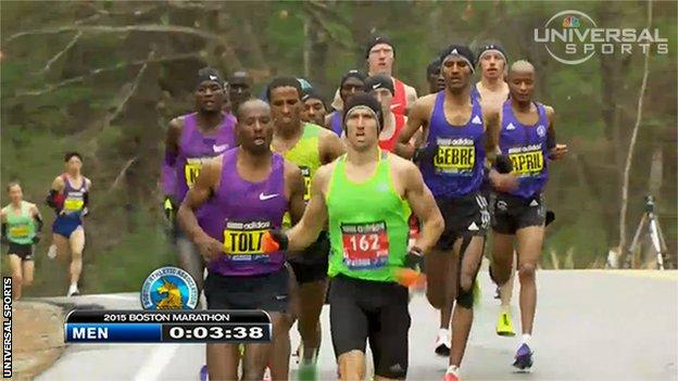 Derek Yorek leads the Boston Marathon