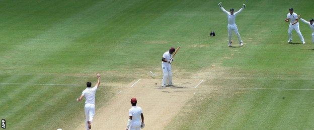 James Anderson bowls Devon Smith