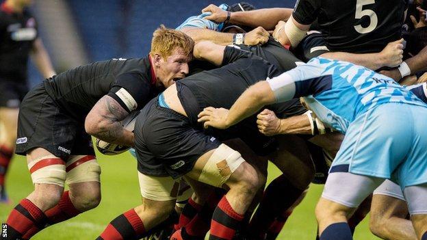 Roddy Grant drives the Edinburgh pack against Zebre