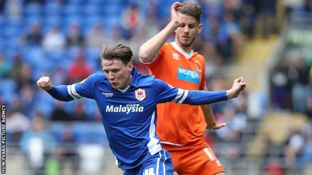 Cardiff City's Joe Mason on the attack against Blackpool