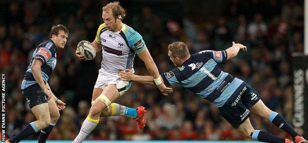 Ospreys lock Alun Wyn Jones powers past Gethin Jenkins of Cardiff Blues to set up Dan Biggar's try