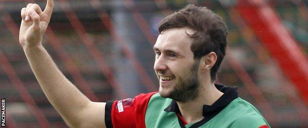 Fra McCaffrey scored Glentoran's winner against Cliftonville