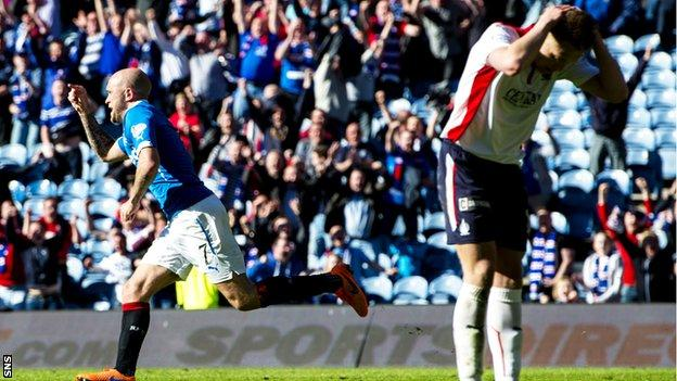 Nicky Law celebrates after scoring for Rangers against Falkirk