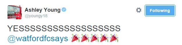 Ashley Young tweet