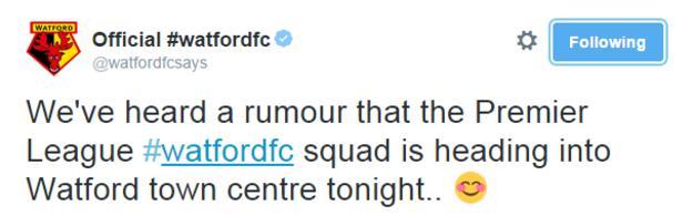 Watford FC tweet