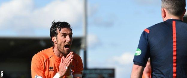 Kilmarnock's Manuel Pascali was upset with the award of two penalties