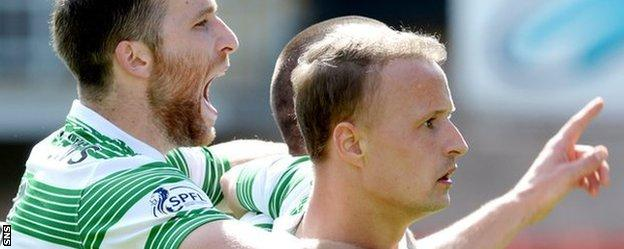 Leigh Griffiths (right) celebrates opening the scoring for Celtic