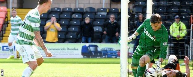 Goalkeeper Radoslaw Cierzniak is unable to prevent Leigh Griffiths' second