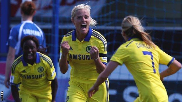 Katie Chapman celebrates her goal against Birmingham City