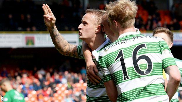 Leigh Griffiths celebrates his hat-trick against Dundee United