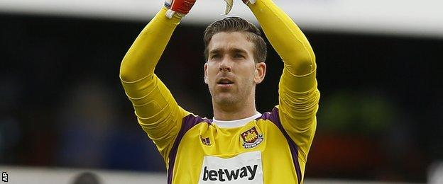 West Ham keeper Adrian applauds supporters