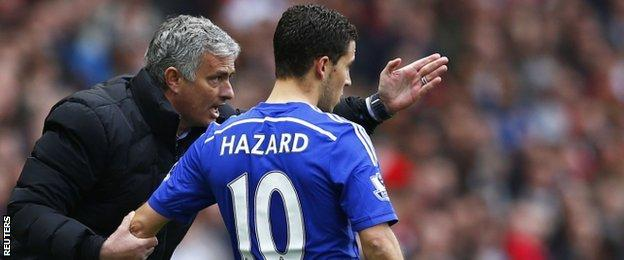 Chelsea manager Jose Mourinho gives instructions to Eden Hazard
