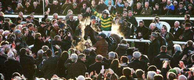 AP McCoy after winning on Carlingford Lough at Leopardstown in February