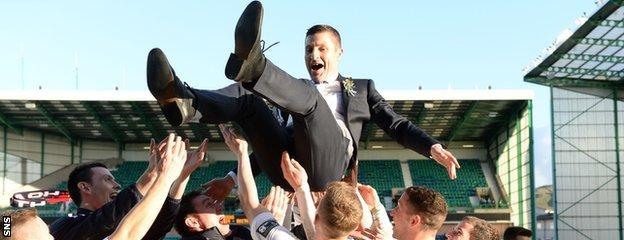 Grant Murray is lauded by his Raith Rovers players after beating Rangers to lift the 2014 Challenge Cup final